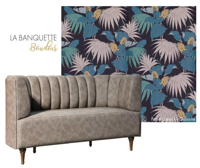 Banquette Boudoir, élément clé des espaces de restauration, brasseries et hôtels grâce à son dossier garni et galbé à boudins.
